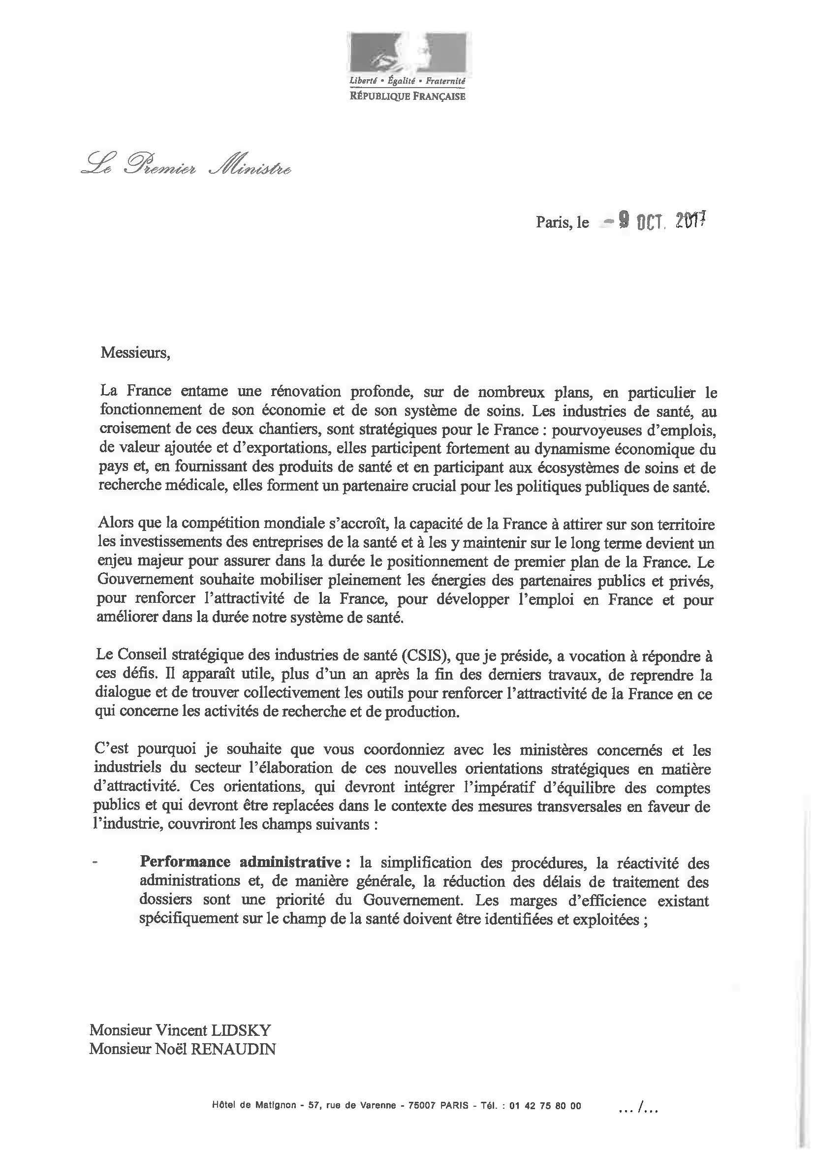 Lettre de mission de MM. RENAUDIN et LIDSKY